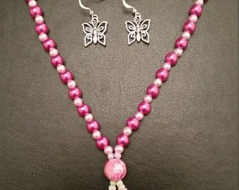 Handmade Butterfly Necklace/Earring Set