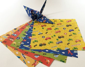 Origami Paper Sheets - Vehicles Pattern Chiyogami Paper - 100 sheets