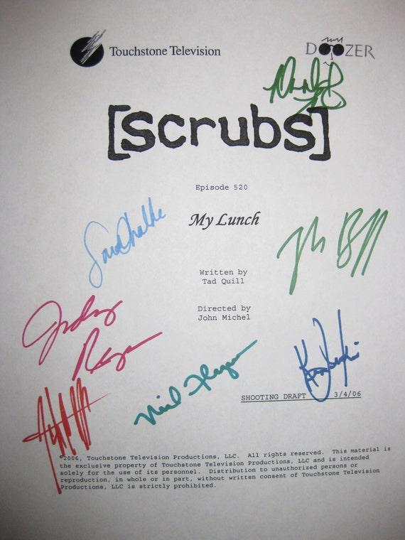 Scrubs Signed TV Script Screenplay X7 My Lunch Zach Braff Sarah Chalke Neil Flynn Donald Faison Judy Reyes Ken Jenkins John C McGinley