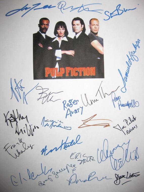 Pulp Fiction Signed Script Film Movie Screenplay X21 Autographs John Travolta Uma Thurman Quentin Tarantino Samuel L Jackson Harvey Keitel