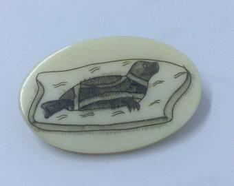 Alaskan Eskimo Carved Ivory Pin - Scrimshaw
