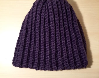 Purple Ribbed Crocheted Hat
