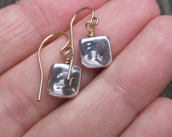 Square silver bead earrings