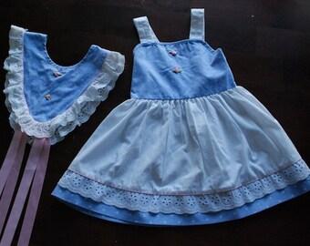 Vintage Evy Summerdress, Blue + White Polka Dots, Size 4T
