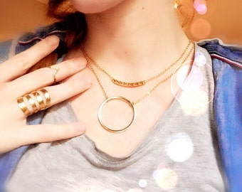 Gold tone layering necklace