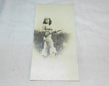 Mature - Vintage Nude photo of Woman Hunting - Vintage photo of Nude / Naked woman with Gun / Rifle - Photograph                        2-23