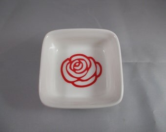 Red Rose Ring Dish Jewelry Holder Trinket Dish