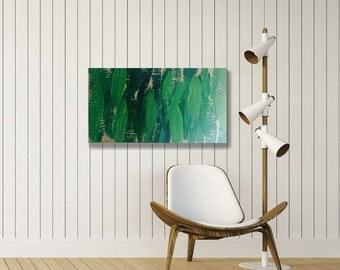 LARGE Abstract Painting on Wood Ready to Hang Green Pastel Blue Cream White