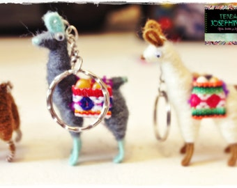 Tiny Llama Alpaca Keychain Andean Collectible Handcrafted Miniature Figurine with Aguayo Fabric &  grains
