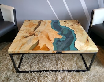 Sold live edge river table with with epoxy inlay sold - Epoxy tisch ...