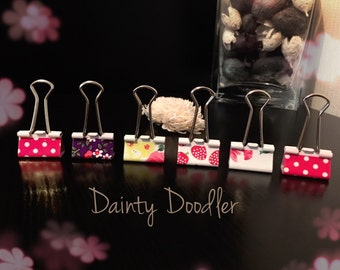 Set of 6 Pretty Bulldog Clips • Fruit Clips • Polka Dot and Floral Print • Binder Clips • Metal Clips • Planner Clips • Office Supplies