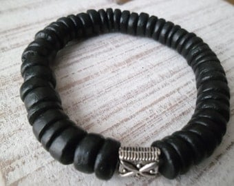 Mens Black Coconut Bead Bracelet