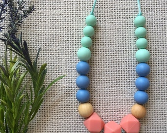 Silicone Bead Teething Necklace, Nursing Necklace, Silicone Teether, Breastfeeding Necklace, Bite Beads, Chewelry, Teething Jewelry for moms