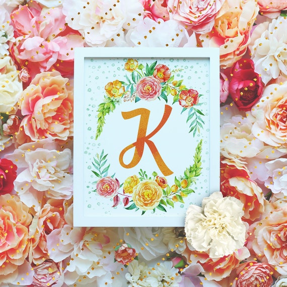 "Monogram Letter ""K"" Printable Wall Art - 8x10"" - ""K"" Name Art Print- Wreath Initial - Floral Monogram - Nursery Monogram- Baby Name Sign"