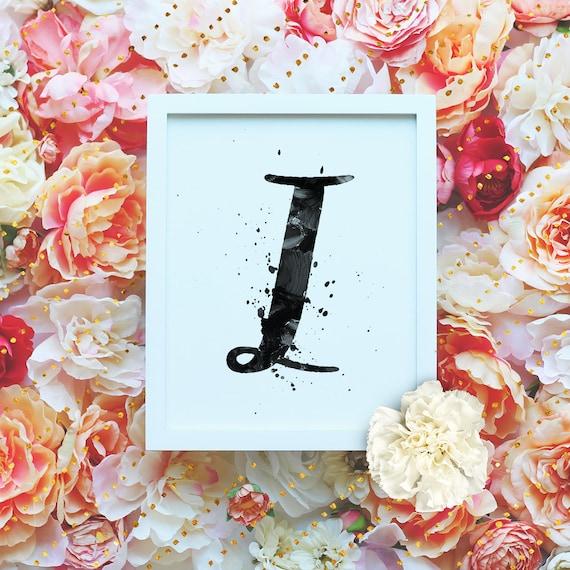 "Monogram Letter ""I"" Printable Wall Art - 8x10"" - ""I"" Name Art Print- Initial Poster- B&W Typographic Monogram - Dorm Decor"