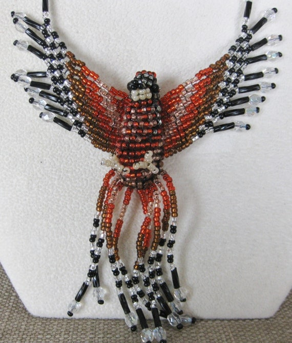 Hand Beaded Red Hawk Bird Necklace - Proceeds to Charity