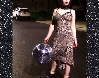 sequined zebra print dress