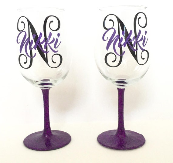 Items Similar To Personalized Name Glitter Stem Wine Glass