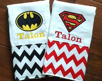Set of 2 burp cloths. Super hero, batman and superman boys burp cloths, with name personalization.