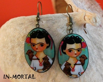 Frida Kahlo Earrings,Ethno style Mexican Earrings, Frida Kahlo Girl Portrait Earrings
