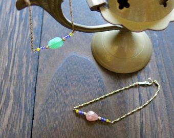 Incarose jade/bead & otonakawaii, crisp rays and summer seems to be gold bracelet
