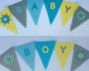BABY BOY felt bunting flags