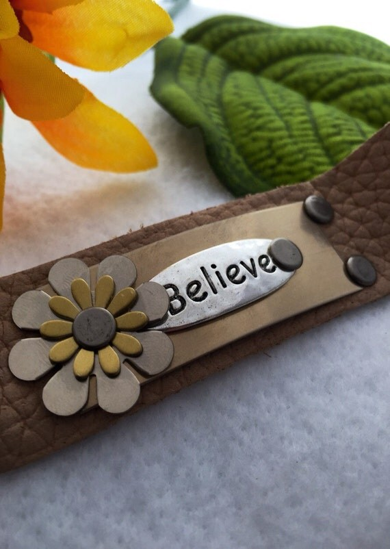 CrossFit Jewelry, Believe Charms, Believe Leather Bracelets, Leather Cuff, Motivational Jewelry, Inspirational Gifts, Hand Stamped Jewelry