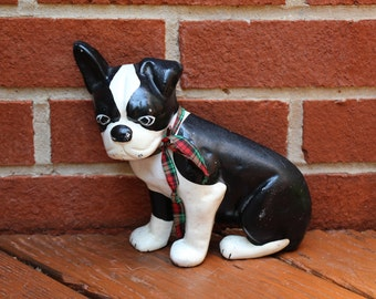Boston Terrier Cast Metal Doorstop