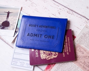 Ticket to Adventure Passport Holder|Personalised PU leather. Personalised gift for him her Father's Mother's students travel lover gift