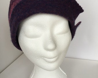 Felted Merino Wool cloche hat,