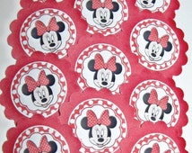 Minnie Mouse Cupcake Toppers/party picks Item #699 Birthday/Baby Shower Free Shipping