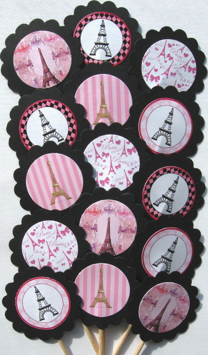 eiffel tower cupcake toppers picks item 206 15pc