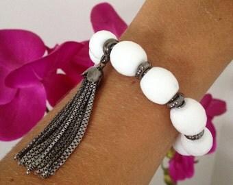 White Agate Gemstones Bracelet