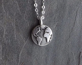Tiny Earth necklace / Silver Earth necklace / Small Silver Globe necklace