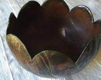 vintage Raku pottery tulip bowl, very unique