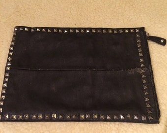 real leather, soft, repurposed 70's clutch purse to iPad or tablet holder