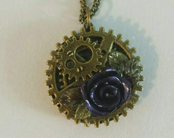 Steampunk gear and rose pendant