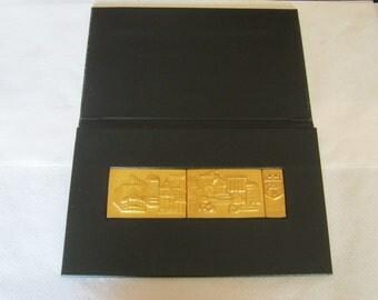 Russian Kondulenzgeschenk solution with a plant motif, black/gold Metaleinlage 3 piece set, ca. 25 / 15, 5 cm, ca. 1967