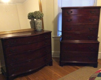 Antique Mahogany Dresser and Highboy Set