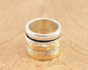 Hammered Gold Gilt Multi- Band Busy Ring Size 6.75 Sterling Silver 15.6g Vintage Estate