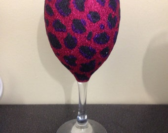 leaped print glitter glass