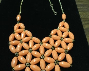 Vintage Bib Necklace, Goldtone, Peach, Floral Look, J Crew