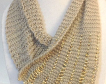 Beaded bamboo cowl bamboo cowl beige scarf beaded scarflet knit cowl
