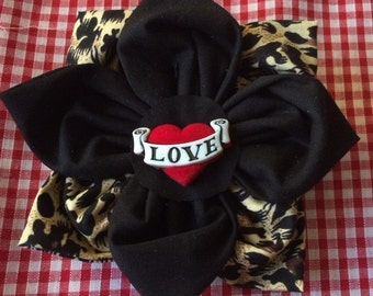 Rockabilly leopard print love heart hair flower accessory