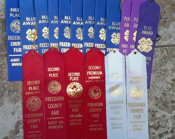 1980s Streamer Ribbons from Freeborn Co Fair.  Great for quilts, pillows.
