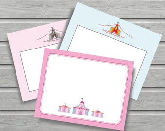 Circus Notecard // Lovely Notecards // Vintage // Stationery // Notecards // Thank You // 3 Different Designs // Instant Download // DIY