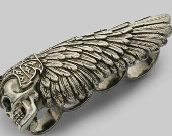 Hells large BIKER duster Rare [Novelty] 4 finger winged skull ring
