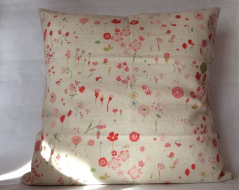 Pink Japanese fabric Cushion cover / Red