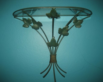 Verdi Green Ivy Wrought Iron and Glass Shelf
