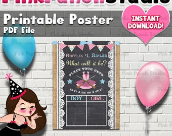 Instant Download Printable Gender Reveal Party Ruffles or Rifles Guessing Game Board Poster Pdf File